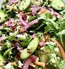 close-up cilantro arugula salad