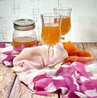 two cordial glasses filled blood orangecello on a bright pink, white, yellow, and orange scarf. In the background is a quart-sized ball jar filled half-way with blood orangecello