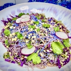 Galaxy Noodle Salad made with beet-dyed vermicelli, butterfly pea flower-dyed vermicelli, cucumber, red cabbage, radish, cilantro, peanuts, sesame seeds, and cilantro.