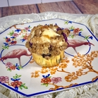 Blueberry Cheesecake Muffin on a colorful flamingo china plate